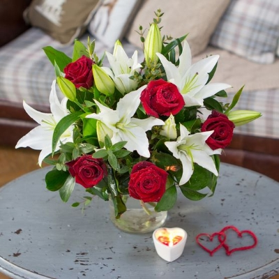 Valentine's Roses & Lilies