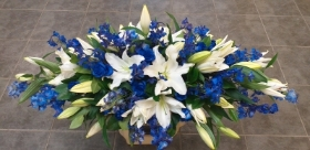 Blue and White Coffin Spray 2
