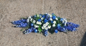 Blue and White Mixed Coffin Spray
