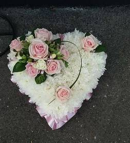 Pale pink and white heart