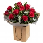 A LUXURY DOZEN RED ROSES IN GIFT BAG*